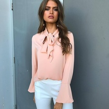 ZOGAA Hot Women Fashion Female Spring Summer Butterfly Knot Long-sleeved Chiffon Shirts Office Lady Elegant Pink Girls Tops