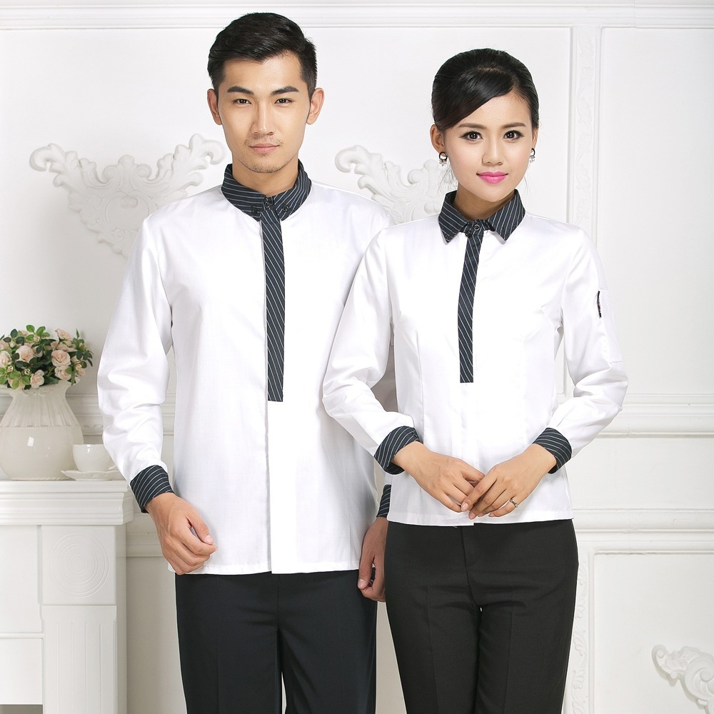 Hotel Overalls Waitress Long Sleeve Uniform Jacket Fast Food Shop Restaurant Cafe Catering Hot Pot Waiter Men Single Top H2367