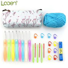 26pcs/set Looen Crochet Hooks Set Yarn Knitting Tape Measure Needles With Bag For Women DIY Craft Tools Accessories