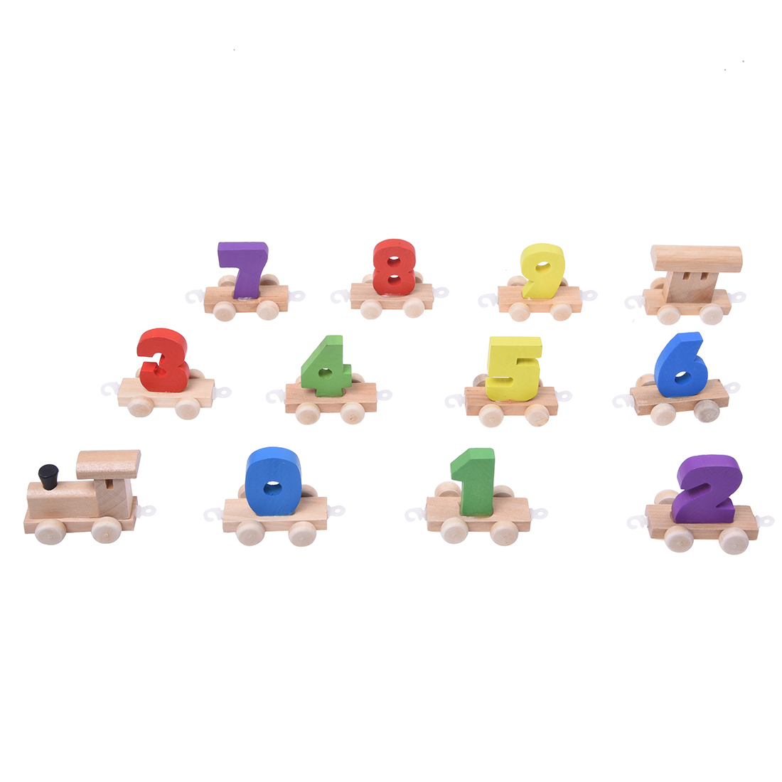 FBIL- Wooden Toys Digital Figures Number Railway Train Childrens Educational Toys