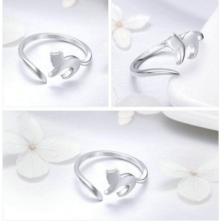 925 Sterling Silver Adorable Cat Tail Rings