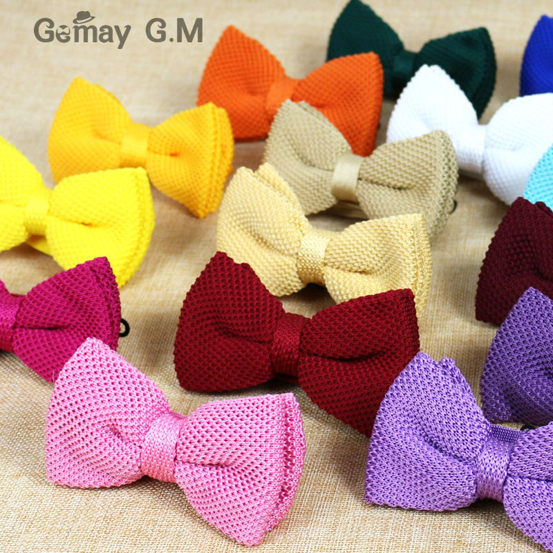 New Men Solid Knitted Bowtie Bow Tie For Mens Pre-Tied Adjustable Knit Bowtie 20 Colors Free Shipping