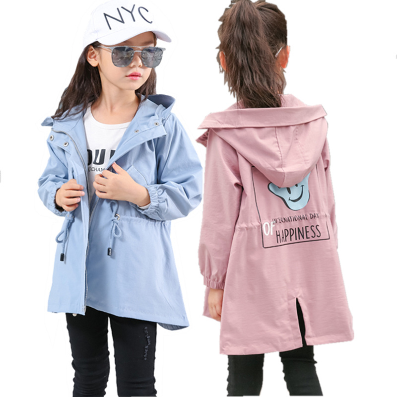 Girls Trench Coat for Babygirl Jacket New Fashion Preppy Style Hooded Windbreaker Outerwear 4 5 6 7 8 9 10 11 <font><b>12</b></font> <font><b>13</b></font> Years Old image