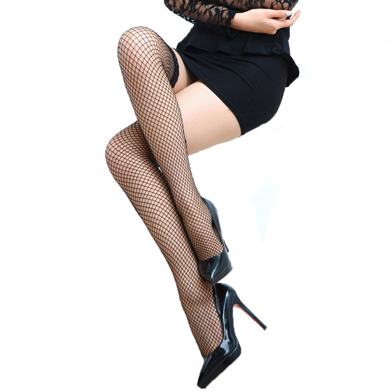 Sexy Women Lace Top Stay Up Thigh High Stockings Fetish Calze Ladies Fishnet Stockings Fish Net Stocking Hollow Medias