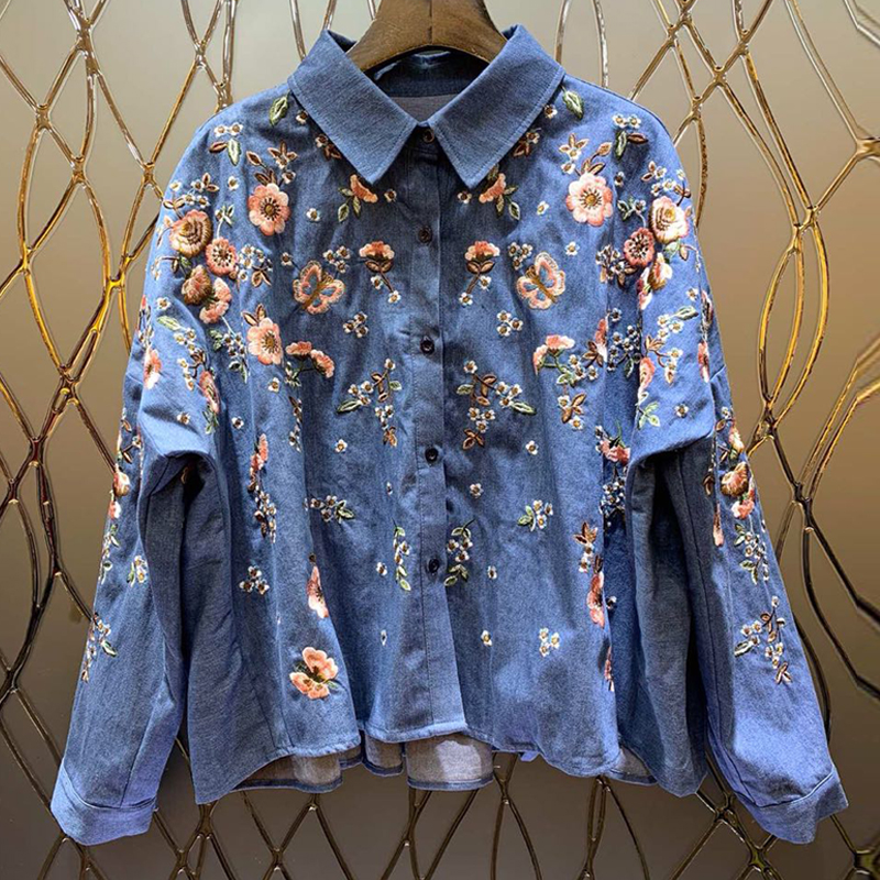 European 2019 Spring Women Designer Runway Fashion New Fashion Heavy Embroidery Cowboy Blouse Shirt