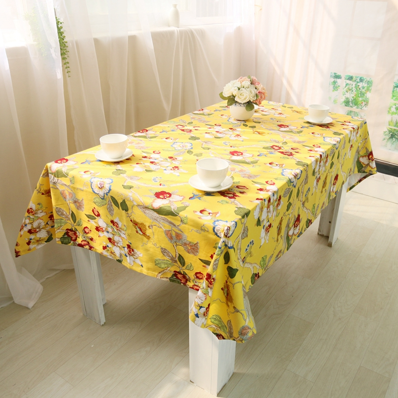 New Beauty Floral Birds Pattern Chinese Tablecloths Classic Style Vintage  Tablecloth High Quality Cotton Table Cloth