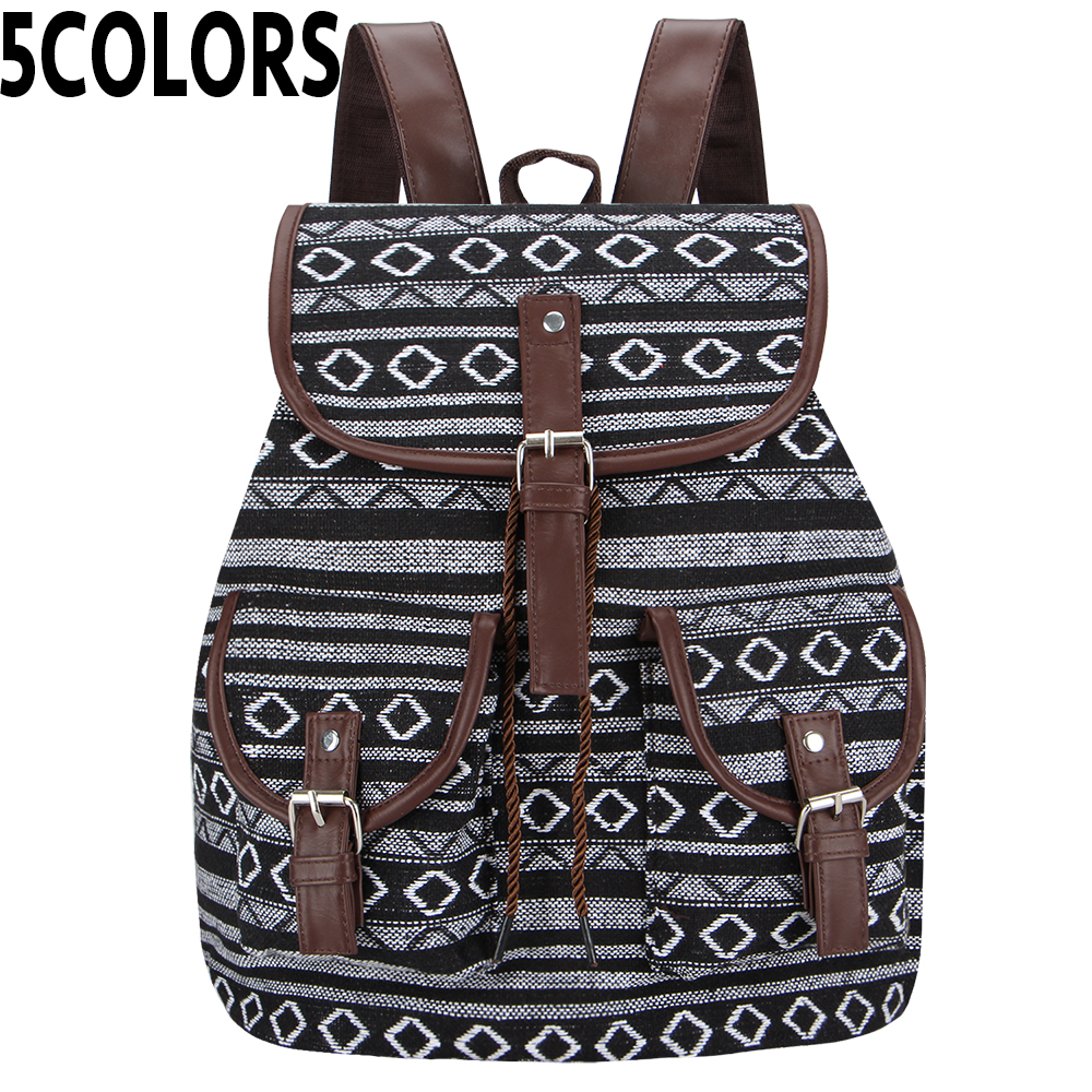 SANSARYA New 2018 Thai Woven Vintage Bagpack Aztec Indian Women Backpack Bohemian Boho Drawstring Rucksack Hippie School Bags