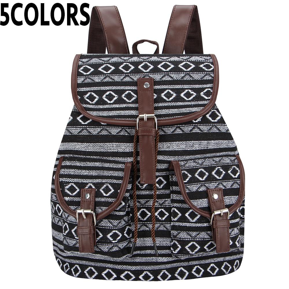 Sansarya New Thai Woven Vintage Bagpack Aztec Indian Women Backpack Bohemian Boho Drawstring Rucksack Hippie School Bags