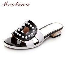 Meotina/Дизайнерская обувь женские босоножки Шлепанцы из натуральной кожи повседневные туфли на плоской подошве вырез заклепки натуральный натуральная кожа шлепанцы Большой размер 42