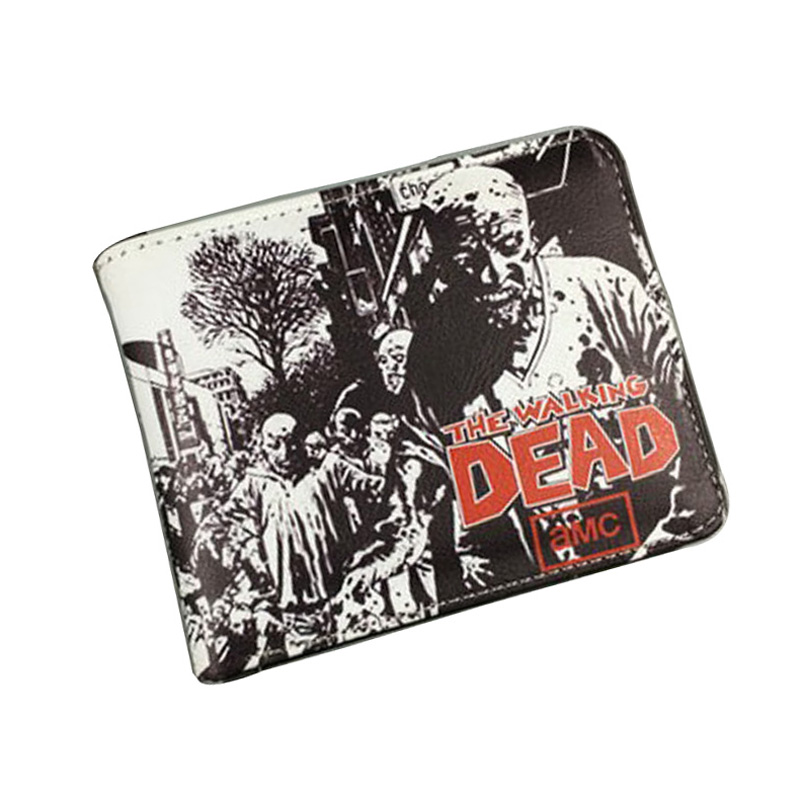 все цены на Hot Sale 2017 Walking Dead Purse Wallets Men Women Teenager Gift Money Bags Leather Short Wallet Cartoon Anime Featured Wallets онлайн