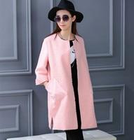 2017 nueva versión Coreana de la manera Delgada capa de las mujeres era popular caliente caliente chaqueta de lana de primavera exquisita siete mangas chaqueta