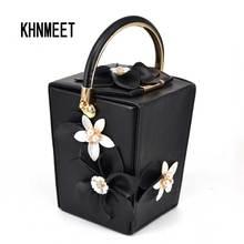 Schwarz Pu Mini Tote Weiße Blume Eimer Partei Abendtasche charakter Schöne packet Geldbörse Weiblichen pochette Frauen Handtaschen