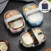 Portable 2 Compartment Lunch Box 304 Stainless Steel Bento Leak-proof Food Container with Bags for School Students