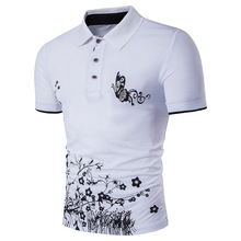 DropshippingMen's Floral Print Lapel Butterfly Print Short Sleeve  T-Shirt US  SIZE notch lapel floral print back vent coat