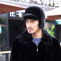 Real Whole Men Mink Fur Hat Russian-Style Winter Men Warm Fur hat Luxury Super Warm Ear Flaps Bomber Fur Genuine Mink Cap H#42