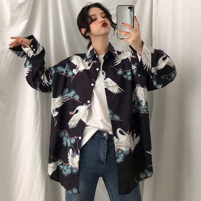 Autumn Korean Harajuku Chiffon Japanese Crane Print Shirts Retro Women's Blouse Ulzzang Street Fashion Loose BF Female Tops 1