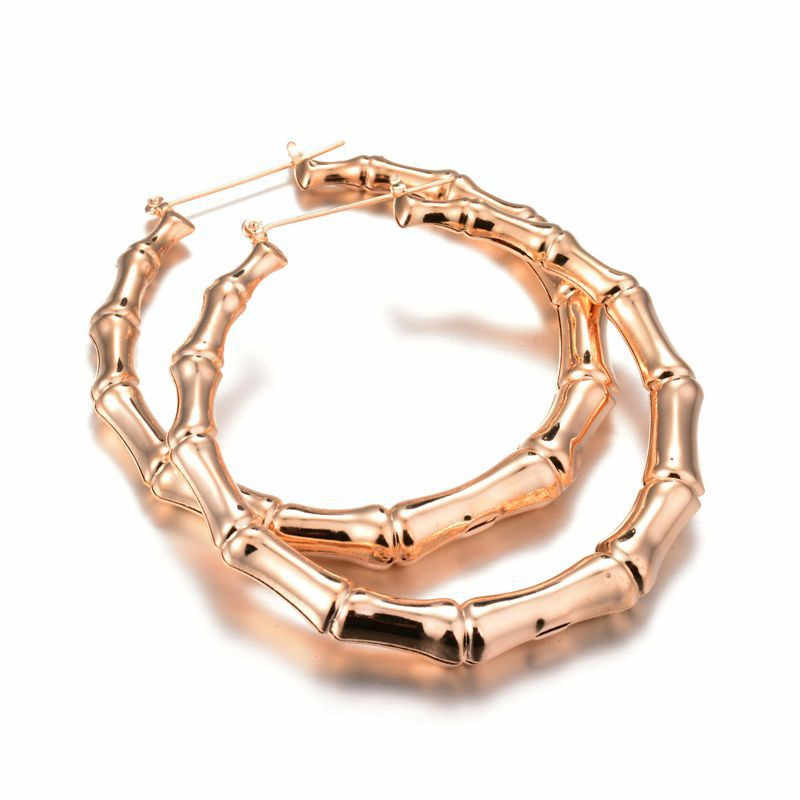 SHUANGR New Fashion Circle Hoop Earrings For Women Metal Alloy Ethnic Statement Bamboo Earrings Bijoux Jewelry Party Wholesale