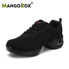 цена на Dancing Shoes For Women Breathable Big Size 41 Jazz Dance Shoes Sport Sneakers Lightweight Black Ladies Ballroom Dance Shoes