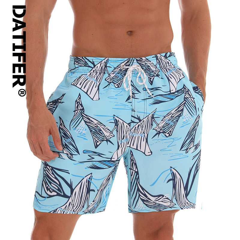 Brand Man Board Shorts Datifer Breathable Sport Swimming Shorts Print Waterproof Elastic Waist Beach Shorts Summer Swim Shorts