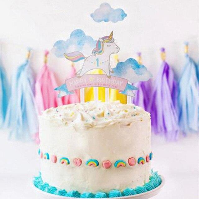 1Set Rainbow Unicorn Cake Topper Baby Shower Birthday Party Decor Children Kids Christmas Decorating
