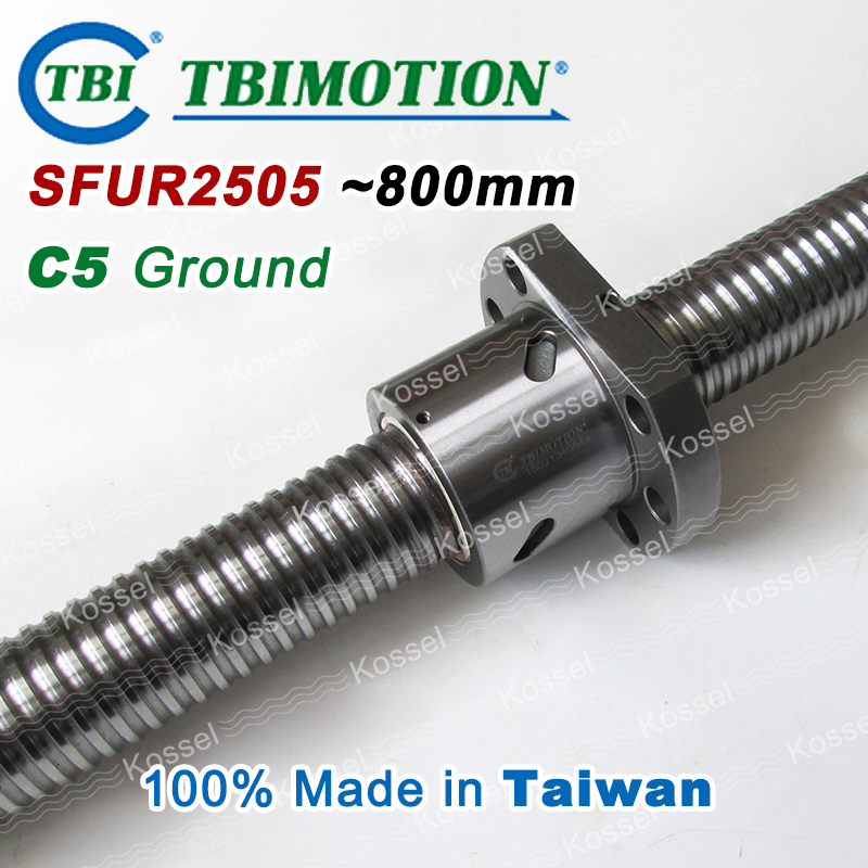 TBI MOTION BallScrew assembly  SFU2505 800mm ball screw SFU 2505 ball nuts and end machined for high stability linear CNC parts tbi dfi 2505 600mm ball screw milled ballscrew and end machined for high stability linear cnc diy kit