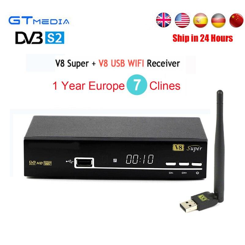 1 Year Europe Cline Server Spain DVB-S2 GTmedia V8 Super Satellite Receiver+USB Wifi Support Youtube,Youporn IPTV 3G TV Receptor
