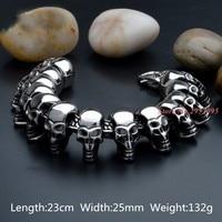 Wholesale Cool Skull Men Bracelet Jewelry For Men Jewelry Stainless Steel Skeleton Heavy Puck Jewelry