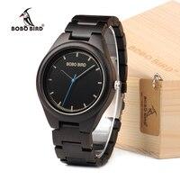 ساعة يد رجالية BOBO BIRD O03 ساعة يد بسيطة من خشب الأبنوس مع علبة هدايا خشبية شعار متوفر بالليزر-في ساعات الكوارتز من الساعات على