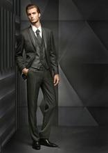 2016 new design gray two button Groom Tuxedos Best man Suit Wedding Groomsman/Men Suits Bridegroom(Jacket+Pants+Tie+Vest)