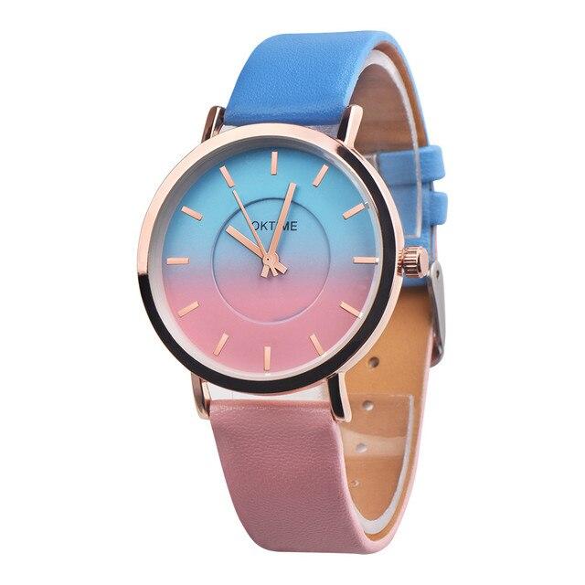 bayan kol saat Women Watch Quartz Wrist Watch Retro Rainbow Design Casual Leathe