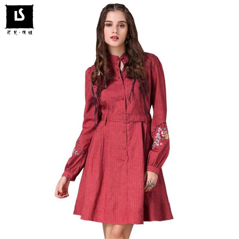Della Casuali Streetwear Fiore Delle New Donne Lanterna 2018 Del Vintage Di Cinghia Ricamo Women Vestiti Sottile Rosso Dal Vestito Vita Dress Lino Cotone Manicotto IqRfOx