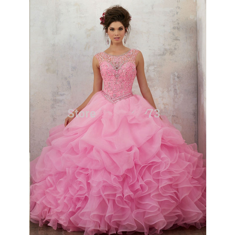 Pink Puffy Cheap Quinceanera Dresses 2019 Ball Gown Cap Sleeves Organza Ruffles Beaded Crystals Sweet 16 Dresses