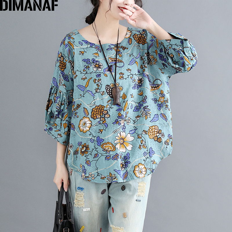 DIMANAF Women Summer   Blouse     Shirt   Linen Plus Size Print Floral Pleated Sleeve Female Elegant Lady Loose Tops Large Clothing 2018