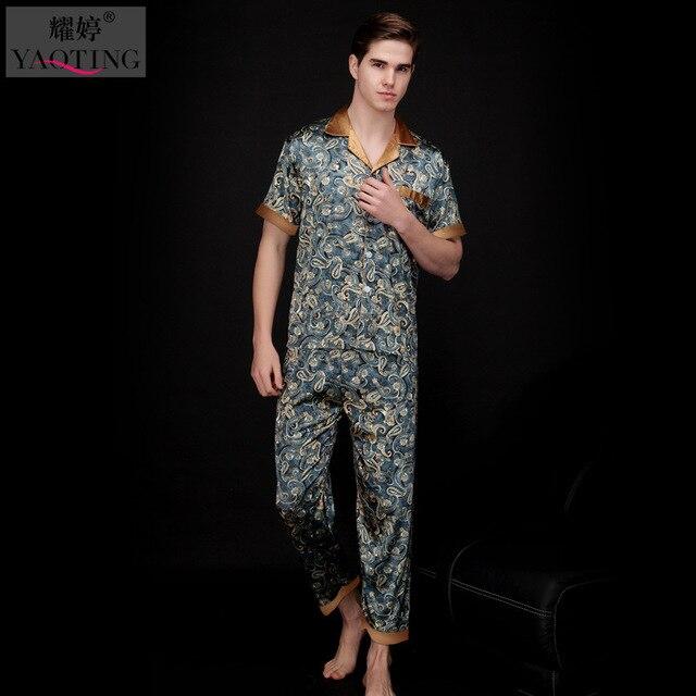 Мужская Шелковый Атлас Пижамы Набор Пижамы пижамы 2 Шт. Ночная Рубашка Пижамы В Продаже Халаты Халаты Для Мужчин Ночное Рубашки TZ021