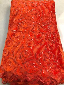 orange 2019 High Quality Nigerian Wedding Lace Fabric Latest African Laces velvet French Net Lace Fabric With sequins lace