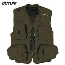 Goture Black/Dark Green Durable Outdoor Fishing Vest Multifunction Life Jacket Waistcoat For Men Lure Fishing Size X XL XXL