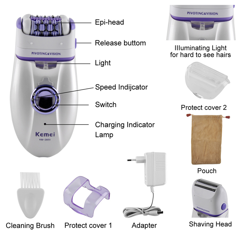 Women Shave Wool Device Electric Rechargeable 2 In 1 Knife Lady Shaver Epilator Shaving KM-2668 Waterproof Dual Head Hair