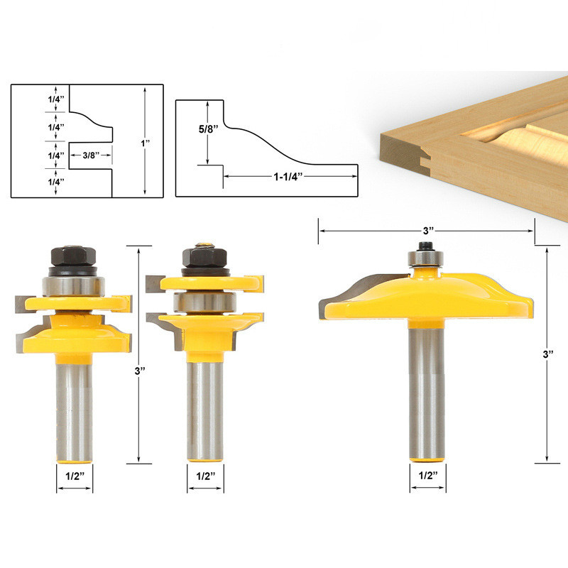 3pcs/lot Bit Raised Panel Cabinet Door Router Bit Set - 1/2 Shank 2 set lot neutrik powercon type a nac3fca nac3mpa 1 chassis plug panel adapter