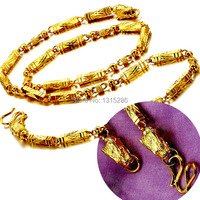 Luxury Duble Gragon Heads Necklace Chain Men S Real 24K Yellow Gold Filled Royal Solid Necklaces