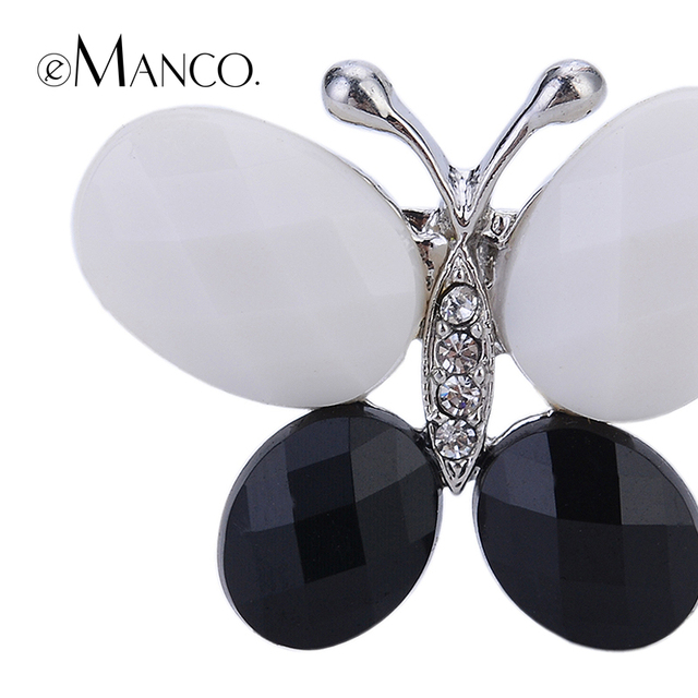 Black White Butterfly Brooches