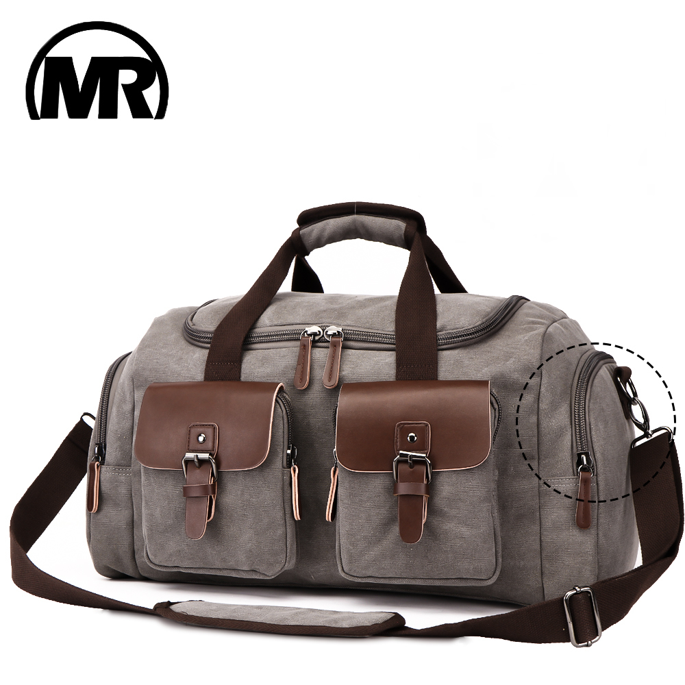 MARKROYAL Canvas Leather Men Travel Bag European Style Travel Bags Handbag High Capacity Shoulder Bag Travel Crossbody Baggage