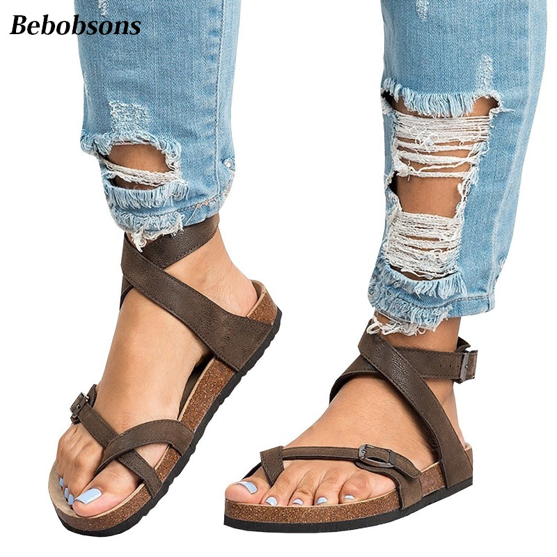 New ankles strap woman roma sandals summer casual flats flip flop beach shoes open toe platform women sandals gladiator big size new 2018 women open toe flip flops fashion ankle strap gladiator sandals women big size 34 43 ladies casual flat rome sandals