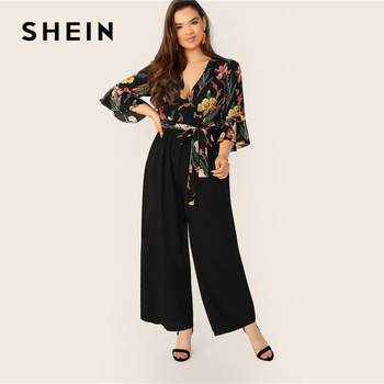 SHEIN Plus Size Multicolor Surplice Neck Self Belted Botanical Palazzo Jumpsuit 2019 Women Spring Casual Deep V Neck Jumpsuits