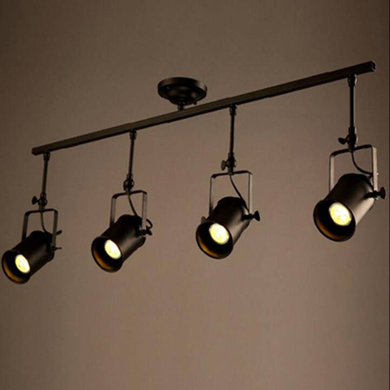Фотография 4pcs/lot New Black Loft Industrial Pendant Lights Lamp Led Track Lights Vintage Led Spotlights for Kitchen Dinning Room Bar