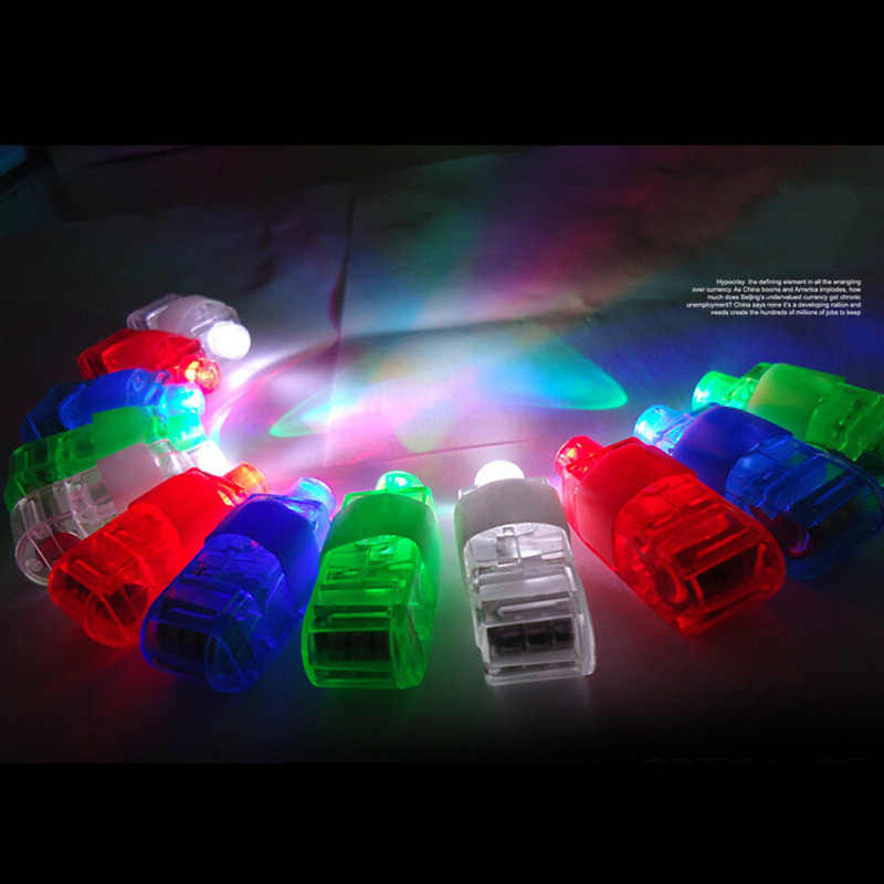 New light-emitting laser finger lights flash colorful Halloween Party Christmas Toys 5Pcs/Lot