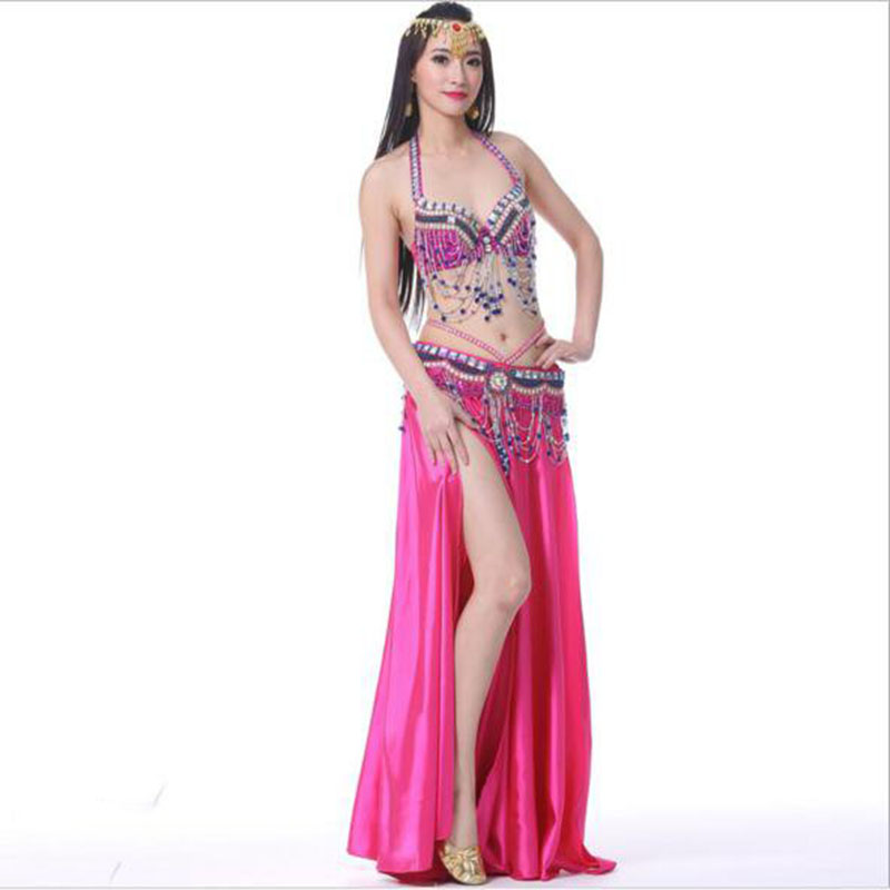 belly dancer Skirts for dancing red white blue purple bra belt skirt indian belly dance clothes