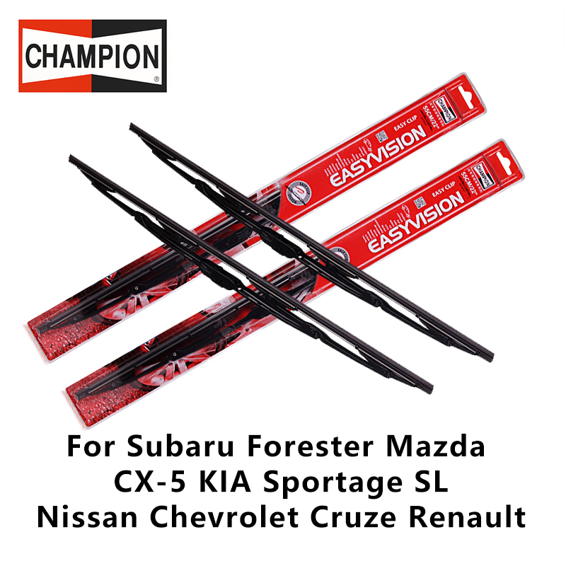 2pieces/set Champion with Bone Wiper Blades For Forester Mazda CX-5 KIA Sportage SL Nissan Chevrolet Cruze Renault 24&18U HOOK