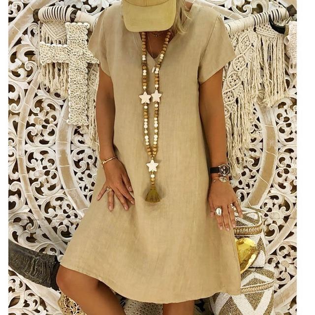 New Summer Casual V-Neck Short Sleeved Cotton Linen Dress Women Loose Plus Size Ladies Dress 5.23 5