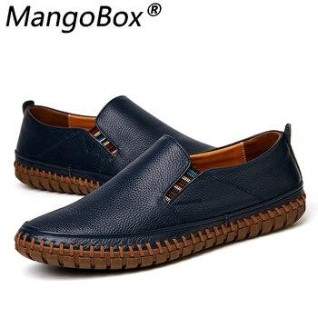 Big Size Men Genuine Leather Shoes Slip on Footwear Black Shoes Real Leather Loafers Mens Moccasins Shoes Italian Designer Shoes