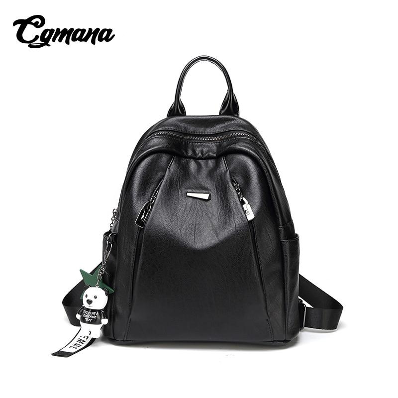 CGMANA Backpacks Women 2018 Large-Capacity Soft Leather Anti-Theft Laptop Fashion Travel Mochilas